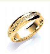 6mm 18ct Yellow Gold Court Mill Grain Wedding Ring